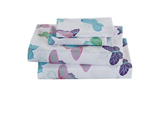 Fancy Linen Butterfly Purple Turquoise Pink Green White Sheet Set Girls/Teens / Adults New (Twin)