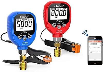 Elitech PT-500&PT-800 Wireless Refrigeration Digital Manifold Gauge Set HVAC A/C Pressure Temperature Gauge with Removable Temperature Test Clip 1/8'' NPT