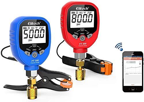 Elitech PT-500&PT-800 Wireless Refrigeration Digital Manifold Gauge Set HVAC with Pipe-Clamp Thermometer 1/8'' NPT