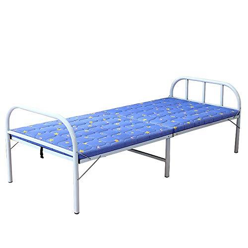 Lwieui Cama Plegable al Aire Libre Junta portátil Cama Dura Cama Plegable reclinable Cama Acompañando Cama de Hierro for Sala de Estar Hamacas y Tumbonas (Color : Azul, Size : 186x80x40cm)