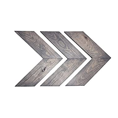 Kane & Co Rustic Wood Chevron Arrow Home Decor | Modern Country Farmhouse Accents | Set of 3 (Weathered Gray)