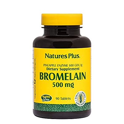 NaturesPlus Bromelain - 500 mg, 90 Vegetarian Tablets - Natural Proteolytic Enzyme Supplement, Sinus Support, Anti-Inflammatory - Gluten-Free - 90 Servings