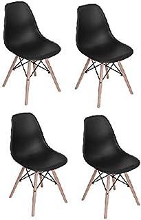 Vogue Dining Chairs, RICOV1, Beige/Black, H49 x W55 x D47 cm, Set Of 4