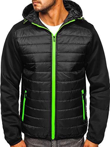 BOLF Herren Übergangsjacke mit Kapuze Sweatjacke mit Reißverschluss Steppjacke Sportlicher Stil J.Style TY12 Schwarz M [4D4]