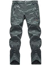 LHHMZ Heren fleece wandelbroek Soft Shell wandelbroek waterdichte stretch winter outdoor werk casual camouflage broek