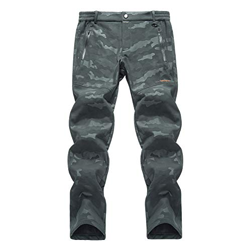 LHHMZ Pantaloni da Trekking in Pile da Uomo Pantaloni da Passeggio in Morbida Shell Pantaloni Resistenti all'Acqua Pantaloni da Lavoro Casual mimetici Invernali