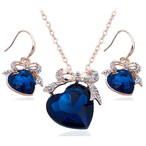 Pendientes De Collar Conjuntos Joyas,Vintage Mujeres Niñas Delicado Corazón Diamante Brillante Azul Marino Colgante De Cristal Ceremonia Magnífica Vestido De Banquete Conjunto Clásico De Novia Reg