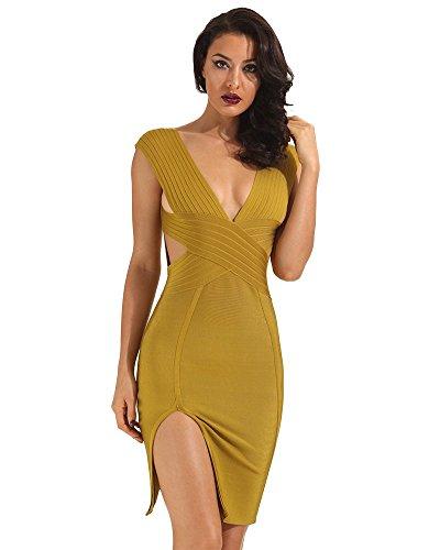 Partykleid Damen Ärmellos Ausschnitt Bodycon V Tiefer Kleid Ausgeschnitten Mode Marken Bandage Mit Seitenschlitz Club Kleider Unique Cocktailkleid Abendkleider