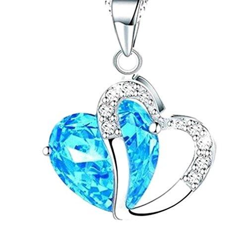 LUXURY - Collar para mujer con colgante modelo AMORE E CUORE con cristales austriacos. Idea para Santo Valentín, Navidad, Día de la madre
