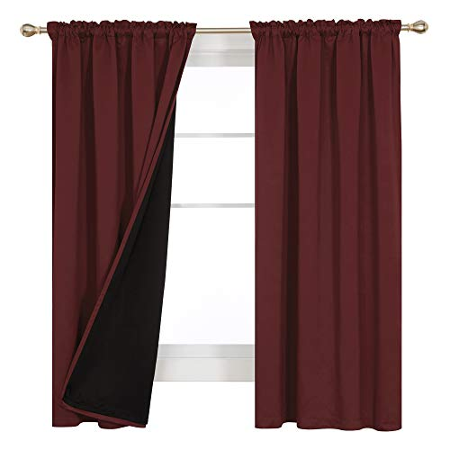 Deconovo 100% Blackout Curtains with Rod Pockets Total Sun Light Block Out Insulated Drapes Heat Cold and Noise Reducing for Bedroom Living Room Window Home Office, 2 Panels, Each 52x72 Inch, Wine Red