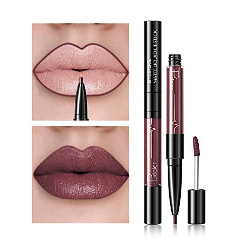 2 in 1 Double-end Lipstick Lipliner - Liquid Lipstick Lip Liner Pencil Gloss for Women Girls - Waterproof Long Lasting Durable Moisturizing Beauty Make-up Cosmetics - 2 kinds 32 colors (A-09)