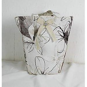 genähte Handtasche in grau weiß, Shopper, Einkaufstasche