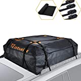 Natudix Car Rooftop Cargo Carrier Bag - 15 Cubic Feet Waterproof & Sturdy Zippers Car Roof Bag with Protective Mat and Carry Bag, Fits All Cars with Rack