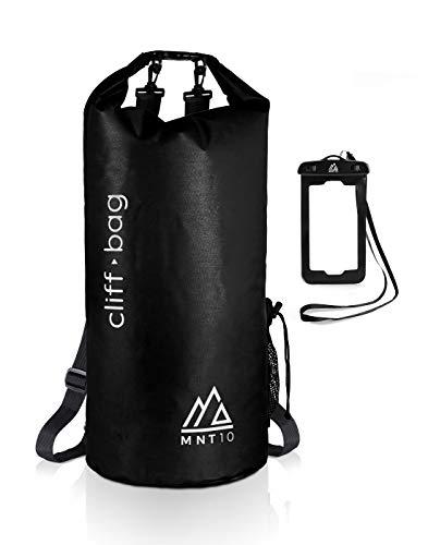 MNT10 Dry Bag 'Cliff-Bag' en 20L, 30L, 40L I Drybag Mochila para SUP, canoa, kayak I Bolsa impermeable con correas para los hombros I Funda impermeable para teléfono móvi (Negro, 40L)