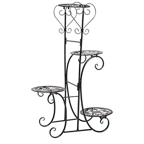 ADDG 4 Stufe Pflanzenständer, europäischer Stil Metallblume Kräuter-Strecken-Pflanzentopf-Halter-Blumen-Topf-Rack-Display-Innen-Innenraum, 50 x 22 x 82 cm(Black)
