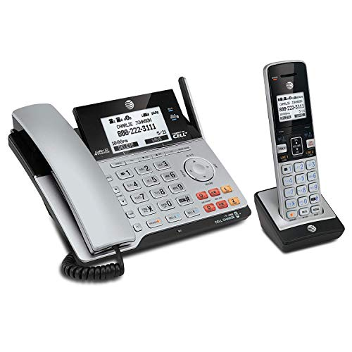 AT&T TL86103 DECT 6.0 Connect to Cell 2 Line Answering System with Caller ID/Call Waiting, 1 Corded & 1 Cordless Handset, Silver/Black (Renewed)