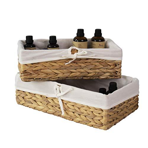 2 cestas de almacenamiento de mimbre tejido con forro extraíble, cestas decorativas y organizador de baño para sala de estar, organizador de armario y organizador de productos de belleza de baño