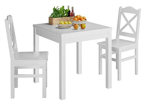 Erst-Holz® Weiße Essgruppe mit Tisch und 2 Stühle Kiefer Massivholz waschweiß 90.70-50 A W Set 20
