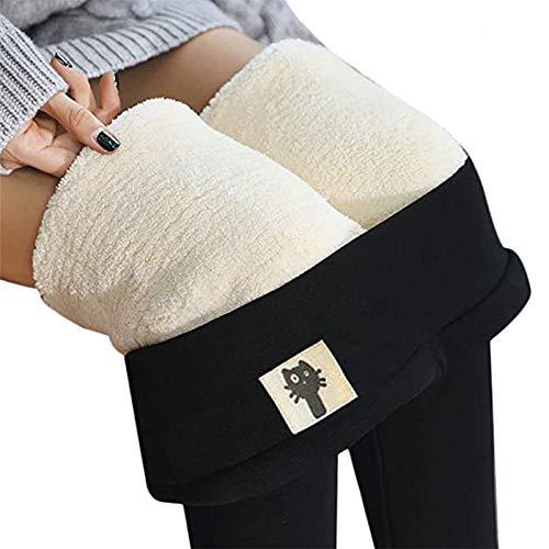 Denise Lamb Legging Doublé en Polaire Thermique pour Femme,Pantalon Chaud d'hiver À Taille Haute, Legging Surdimensionné,Pantalon Chaud pour L'automne Et l'hiver (Color : Noir-B, Size : M)