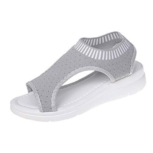 WggWy Sandalias Cómodas De Plataforma Transpirable para Mujer, Zapatos De Playa De Moda para Mujer Sandalias Deportivas De Playa con Tacón De Cuña Punta Redonda Y Plana,Gris,37