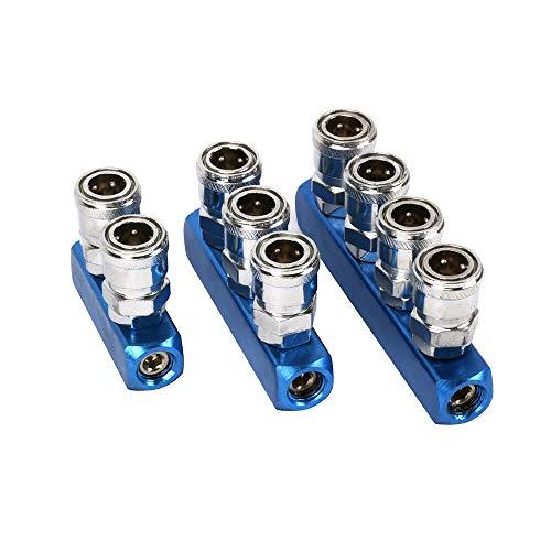 Othmro 3pcs 5Way 1/2' Manifold Block Splitter Air Hose Inline,Pneumatic Air Compressor Manifold Fitting
