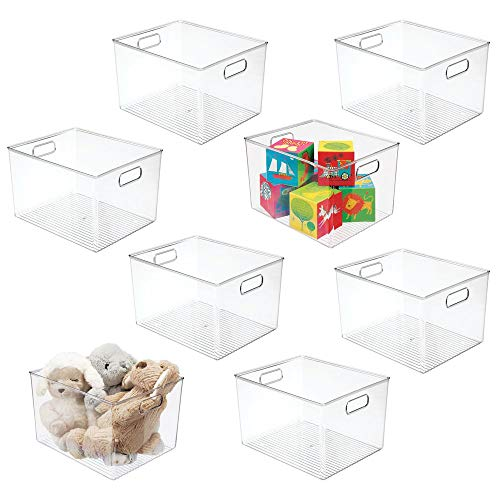 mDesign Deep Plastic Home Storage Organizer Bin for Cube Furniture Shelving in Office, Entryway, Closet, Cabinet, Bedroom, Laundry Room, Nursery, Kids Toy Room - 12' x 10' x 8' - 8 Pack - Clear
