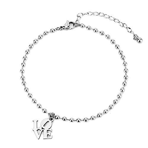 U/N Women's Letter Love Anklet Bracelet Girl Anklet Heart Shaped Sun Coconut Tree Beaded Leg Chain Foot Gift-2