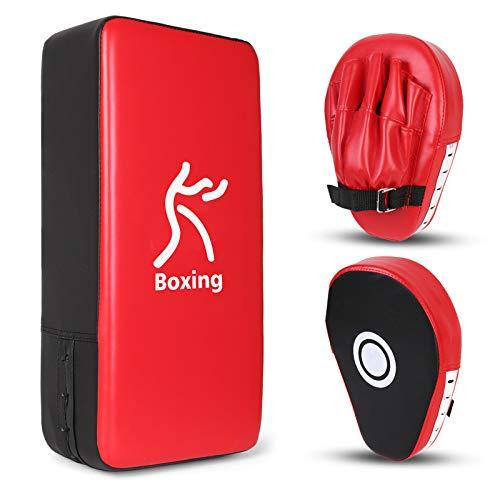 Odoland 2-in-1 Punching Mitts Kick Pack Set, Boxing Mitts Focus Pads, Taewondo Kick Pad, Great for Boxing, Kickboxing, Karate, Muay Thai, MMA Training