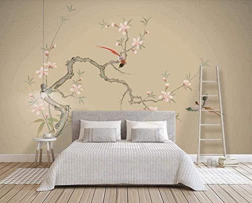 Mural Wallpaper Photo Poster Wall DecorationHand Painted Flowers and Birds Small Plum blossomsBackground Wall Background Painting Panorama 3D Wall Mural Decor 256 * 350cm