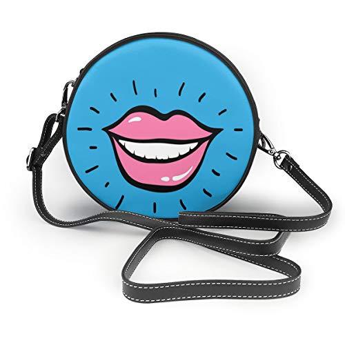 Wrution Pop Art Damen Handtasche mit roten Lippen, blauer Hintergrund, Rundumreißverschluss, weiches Leder