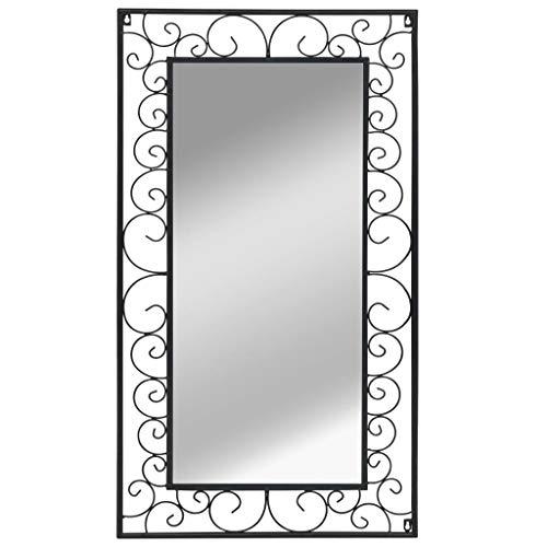 Festnight Wandspiegel Rechteckig | Antik Spiegel | Retro Badspiegel | Schwarz Pulverbeschichteten Stahlrahmen 60 x 110 cm
