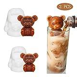 Katyma Moldes de Silicona para Tartas con Fondant 2 Piezas 3D Oso de Peluche Molde para Hornear para café, Leche, Té, Caramelo, Fondant de Goma, Pastel, Hornear, Cupcake, Decoración