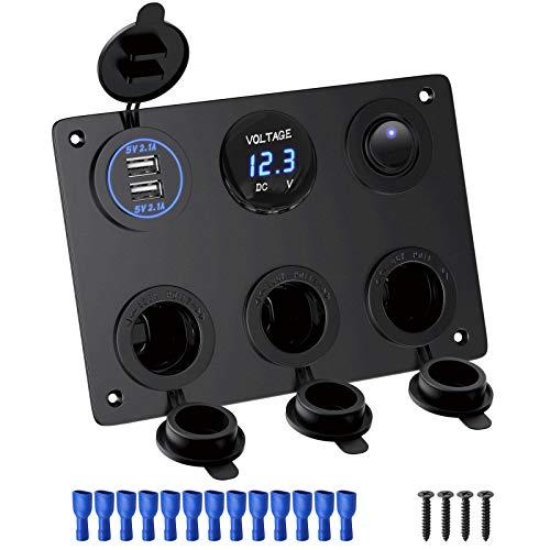 Deyooxi 6-en-1 Toma de Corriente de Panel multifunción Cargador Coche con Dual de Toma USB,Encendedor de Cigarrillos,Voltímetro LED,Interruptores para Interruptores para Marina,Barco,Coche,Camión