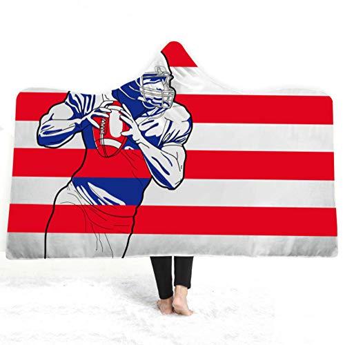 PANDAWDD deken knuffeldeken woondeken 3D druk rugby tv-deken met capuchon voor volwassenen mannen 3D grappig draagbare deken fleece deken 150 x 200 cm