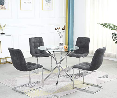 SICOTAS Round Dining Table Set,Modern Kitchen Table and White Chairs,Dining Room Table Set with Clear Tempered Glass Top, Dining Set for Dining Room Kitchen Furniture (4 Leg Table +4 Slay Chairs)