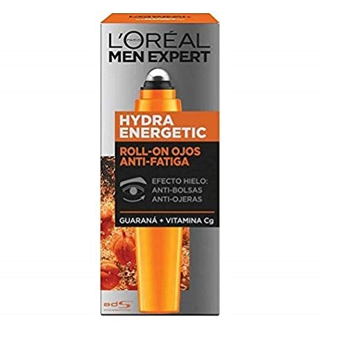 L'Oréal Paris Men Expert Hydra Energetic - Roll-on de Ojos Efecto Hielo, Anti Bolsas y Ojeras - 10 ml