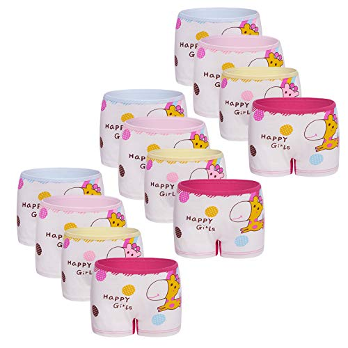 Usex Sense 12er Pack Mädchen Boxershorts Kinder Unterhosen Baumwolle Unterwäsche 2-9 Jahre(2-3 Jahre,2030S)