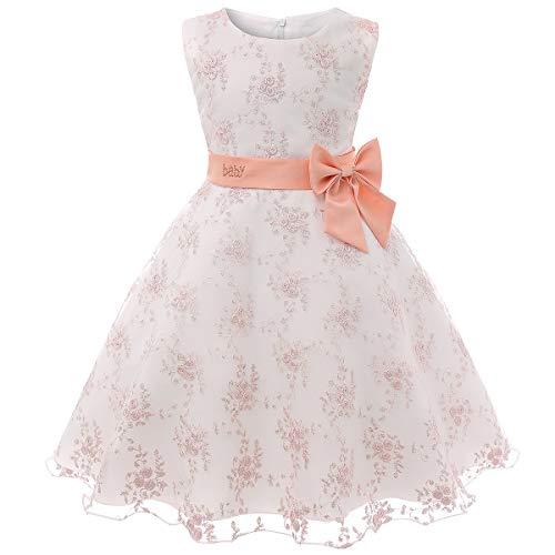 Cichic Mädchen Kleider Partei Kleider Elegant Kinder Prinzessin Kleid Kinder Hochzeits Geburtstag Kleid Blumenmädchen Formale Kleid 2-10 Jahre (7-8 Jahre, Baby Pink)