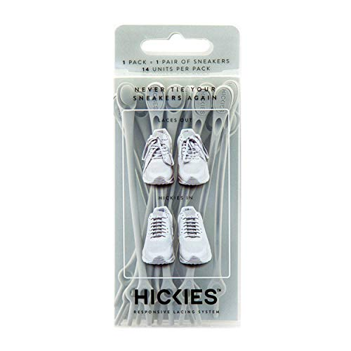 HICKIES 1.0 One Size Fits All Elastic No Tie Shoelaces - Gray (14 Laces, Works in All Shoes)