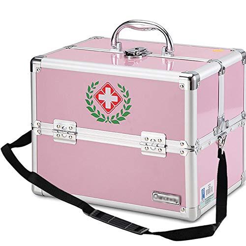 Umora薬箱 救急箱 応急処置 ショルダー 大容量 家庭用 業務用 小物入れ 14インチ ピンク 2層