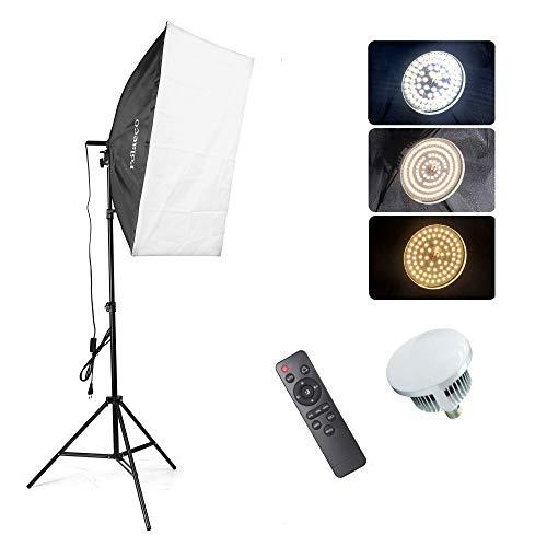 Softbox LED para Estudio Fotografía 95W 3000~6500K Iluminación Fotográfica, 1x Bombilla LED con Control Remoto, 1x Softbox de 50x70cm con Trípode de Luz para Fotos, Videos, Transmisión en Vivo