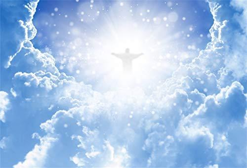 Leyiyi 10x8ft Jesus Christ in Sky Photography Background Paradise God Place Heaven Cloud Bokeh Spot Sacred Banner Backdrop Merry Christmas Baptism Kids Birthday Photo Portrait Vinyl Studio Prop