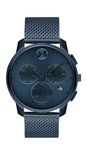 Movado Bold sottile cronografo al quarzo quadrante blu orologio da uomo 3600633