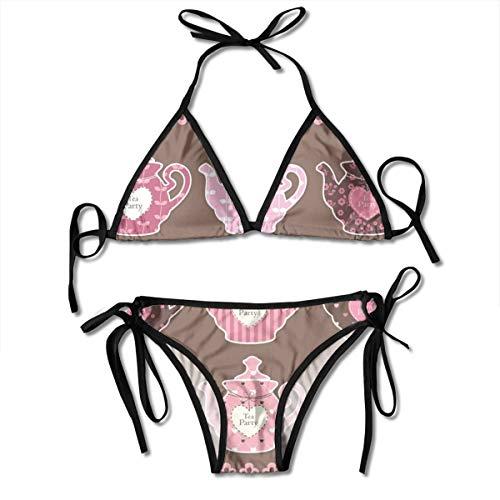 Set van Vintage Theepotten Vector Afbeelding vrouwen V-draad gewatteerde geribde gesneden Cami Bikini Set Twee Stuk Zwempak Gepersonaliseerd