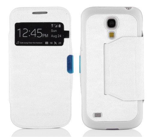 Cadorabo Hülle für Samsung Galaxy S4 Mini - Hülle in Magnesium WEIß – Handyhülle im View Design mit Sichtfenster - Case Cover Schutzhülle Etui Tasche Book Klapp Style