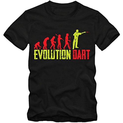 Dart Evolution #1 T-Shirt | Dartkönig | Pfeil | Dartworld | Herren | Shirt, Farbe:Schwarz (Deep Black L190);Größe:XXL