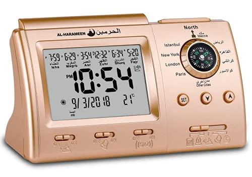 Hitopin Muslim Azan Clock Islamic Prayer Table Azan Athan Clock Islamic Clock Gold Color HPUK-3005