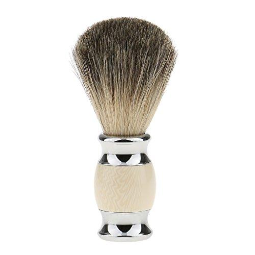 SDENSHI Cepillo de Afeitar de Pelo de Tejón Puro Mango de Madera Barba de Peluquero Cepillo de Afeitar Facial