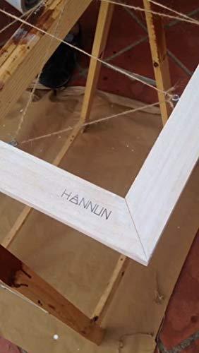 HANNUN Cuadro de Fotos de Madera Maciza y Cuerdas de Cáñamo Natural/Cuadro de Fotos Artesanal Fabricado a Mano, Color Madera Blanco 120x60 cm