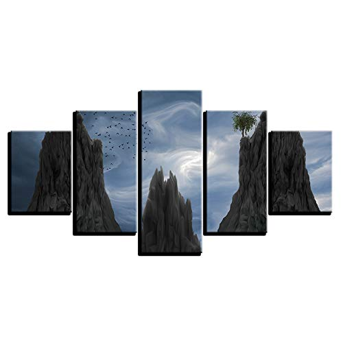 5 Canvas paintings Painting Living Room Decor HD Print Blue Sky Mountain Tree Birds Poster Abstract Pictures Frameless